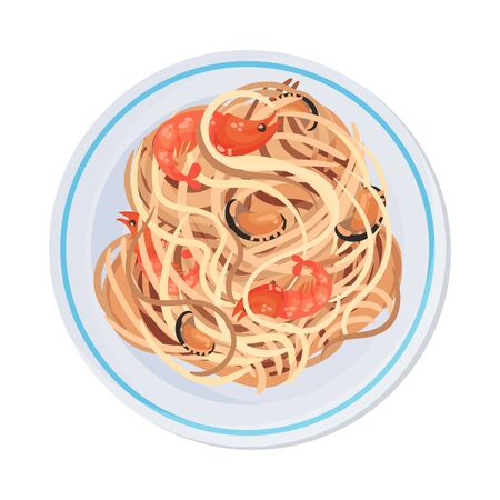 Spaghetti or Capellini Pasta with Prawns and Oysters Served on Plate Vector Illustration