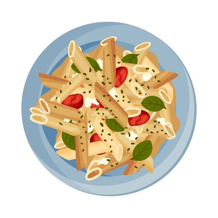 Vegetarian Pasta with Tomatoes and Green Herbs Served on Plate Vector Closeup Illustration