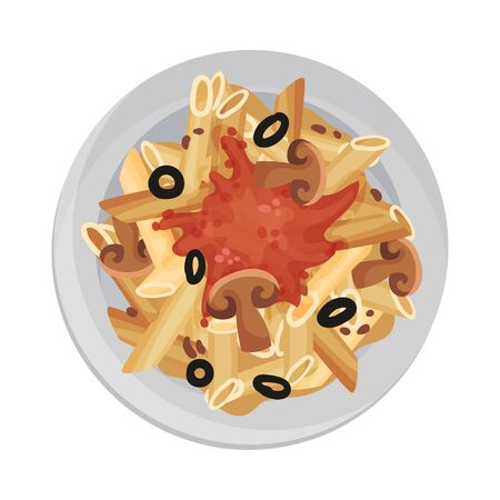 Pasta with Gravy and Mushrooms Served on Plate Vector Closeup Illustration