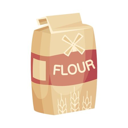 Package of Flour, Baking and Cooking Ingredient Vector Illustration