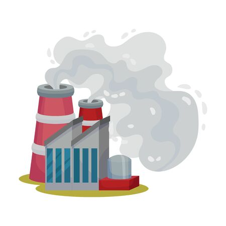 Plants Smoke Polluting Environment Vector Illustration. Industrial Smog and Factory Smoke Clouds. Toxic Factories Fumes Emission Concept Illustration