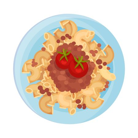 Pasta with Meat and Tomatoes Served on Plate Vector Closeup Illustration. Italian Dish for Restaurant Menu Иллюстрация