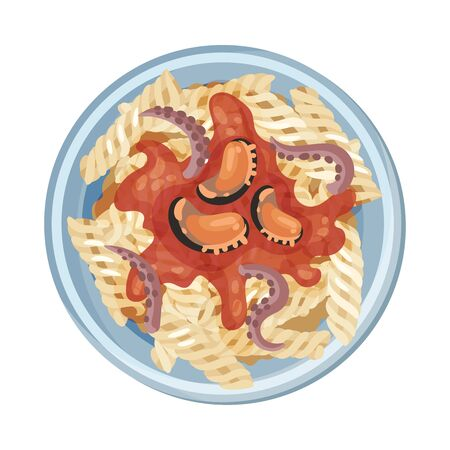 Pasta with Seafood Served on Plate Vector Closeup Illustration