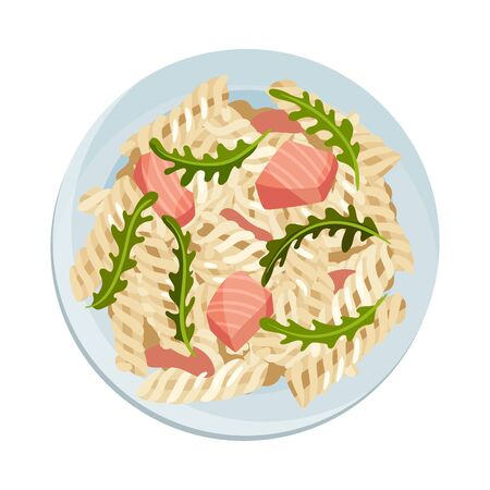 Pasta with Meat Slabs and Greenery Served on Plate Vector Illustration Иллюстрация
