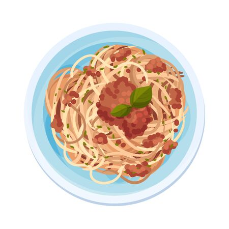 Spaghetti or Capellini Pasta with Meat Gravy Served on Plate Vector Illustration. Closeup Top Viewed Italian Dish Concept