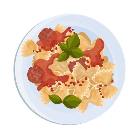 Pasta with Meat Balls Served on Plate Vector Illustration
