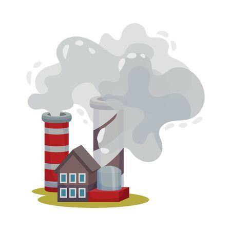 Industrial Plants Dangerous for the Environment Vector Illustration. Environmental Pollution Concept. Illustration