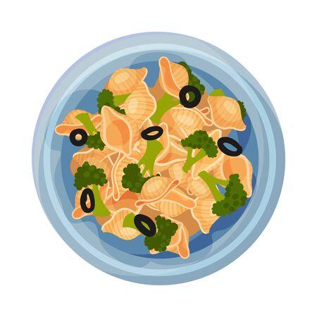 Vegetarian Pasta with Broccoli and Olives Served on Plate Vector Closeup Illustration. Italian Dish for Restaurant Menu Иллюстрация