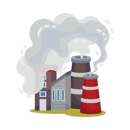 Industrial Plants Dangerous for the Environment Vector Illustration. Environmental Pollution Concept.