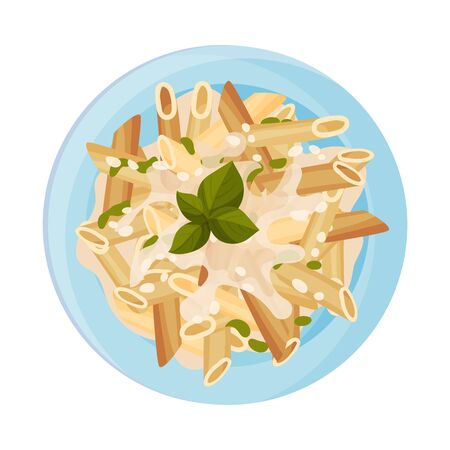 Vegetarian Pasta with Cream Sauce and Greenery Served on Plate Vector Closeup Illustration