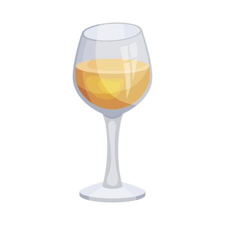 Glass of White Wine, Alcohol Drink, Culinary Ingredient Vector Illustration Иллюстрация