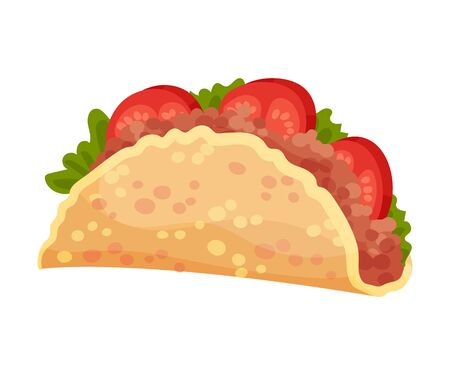 Traditional Quesadilla Snack Vector Illustration. Various Ingredients Wrapped in Multigrain Crumpet. Mexican Starter Stuffed with Meat and Vegetables Illustration