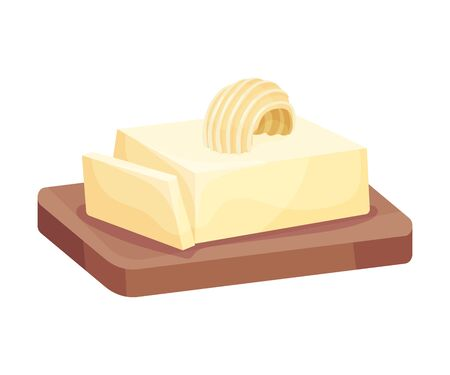 Piece of Butter on a Wooden Board, Healthy Fresh Dairy Product Vector Illustration Иллюстрация