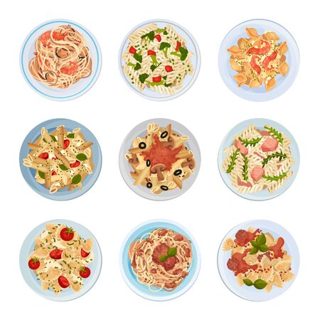 Different Pasta Served on Plate Top View Vector Set Vetores