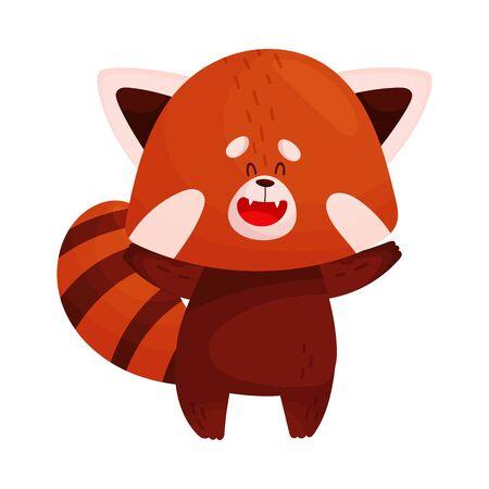 Cute Cartoon Red Panda Waving Paws Vector Illustration. Funny Fluffy Rare Animal Illustration