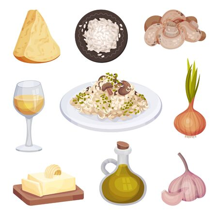Mushroom Risotto, Italian Food Dish with Cooking Ingredients Vector Illustration Banque d'images - 137052578