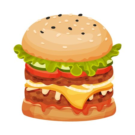 Tasty Burger, Bun with Sesame Seeds, Cucumber, Meat Cutlet, Tomato, Onion, Lettuce, Ketchup and Mustard Bottles Vector Illustration Ilustracja