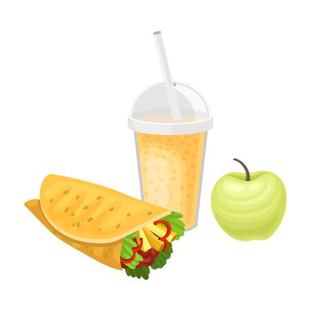 Takeaway Products for Snack Break with Sandwich and Juice Vector Illustration