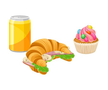 Takeaway Products for Snack Break with Stuffed Croissant and Cupcake Vector Illustration. Colorful Detailed Nosh Isolated on White Background Illustration