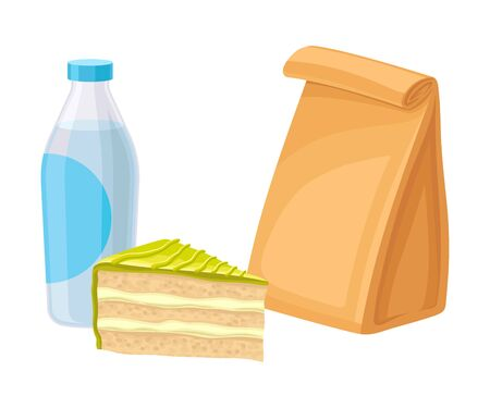 Takeaway Products for Snack Break with Cake and Bottle of Drink Vector Illustration. Colorful Detailed Nosh Isolated on White Background
