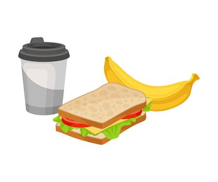 Takeaway Products for Snack Break with Sandwich and Banana Vector Illustration