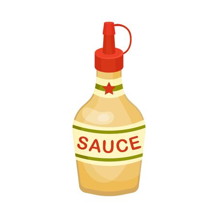 Bottle of Sauce, Sandwich or Burger Ingredient Vector Illustration Ilustração