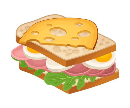 Realistic Sandwich with Greenery and Wurst Vector Food Item. Fast Food Concept. Closeup Snack for Restaurant Menu