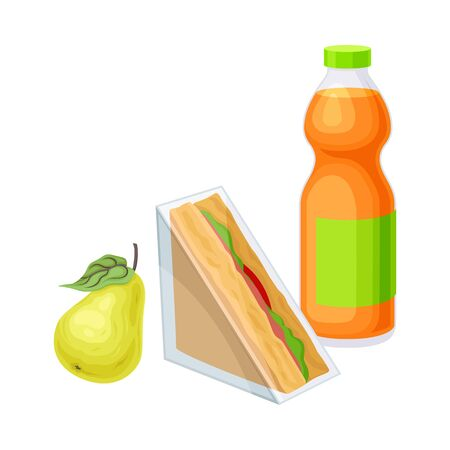 Snack Items for Lunch with Sandwich and Bottle of Juice Isolated on White Background Vector Composition. Nutrition for Quick Meal Concept. Detailed Volume Food Items Illustration
