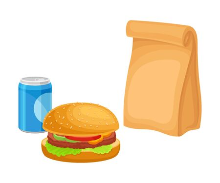 Snack for Lunch with Hamburger and Soda Isolated on White Background Vector Composition. Nutrition for Quick Meal Concept. Detailed Volume Food Items Vector Illustratie