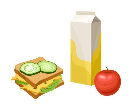 Productos para llevar para Snack Break con Sandwich y Apple Vector Illustration. Nosh detallado colorido aislado sobre fondo blanco.