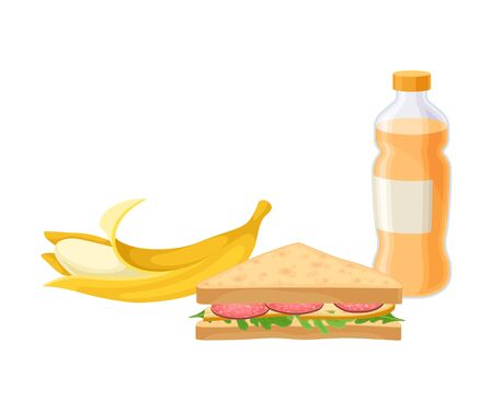Takeaway Products for Snack Break with Sandwich and Banana Vector Illustration. Colorful Detailed Nosh Isolated on White Background