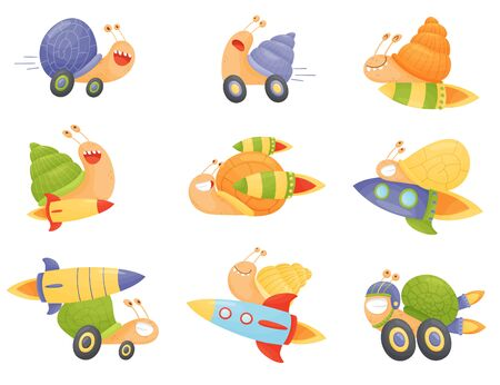 Fast Snails Vector Set. Funny Cartoon Mollusk Characters with Turbo Rocket Boosters.
