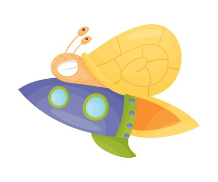 Flying Snail with Rocket Turbine Cartoon Vector Illustrated Character. Business Start Up Symbol