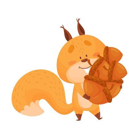 Dessin animé écureuil animal transportant beaucoup de glands dans son arbre creux Vector Illustration