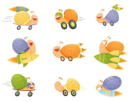 Fast Snails Vector Set. Funny Cartoon Mollusk Characters with Turbo Rocket Boosters