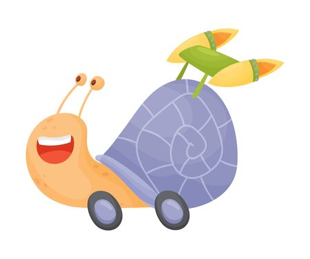 Flying Snail with Rocket Turbine Cartoon Vector Illustrated Character