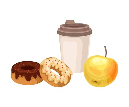 Snack Items for Lunch with Sweet Doughnuts and Coffee Isolated on White Background Vector Composition