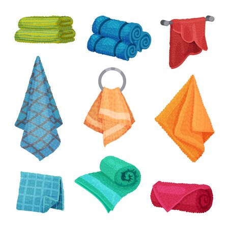 Different Hanging and Folded Towels for Kitchen and Bathroom Vector Set