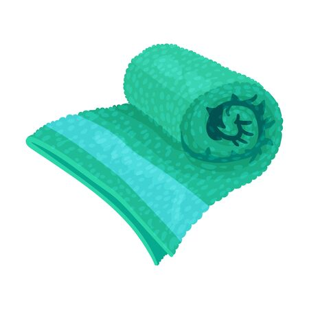 Rolled Terry Towel Isolated on White Background Vector Item Ilustración de vector