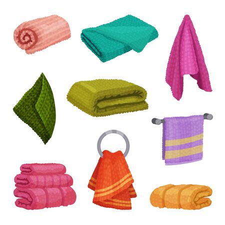 Different Hanging and Folded Towels for Kitchen and Bathroom Vector Set. Soft Textile for Drying Concept