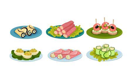 Light Snacks and Bites Served on Plates Side View Vector Illustrations Set