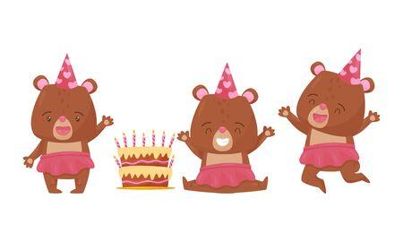 Cute Bear Female Animal Wearing Skirt Celebrating Birthday Vector Illustrations Set Vector Illustration