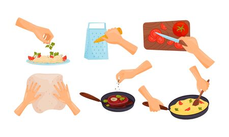 Hands Holding Kitchen Items and Cooking Meal Vector Illustrations Set