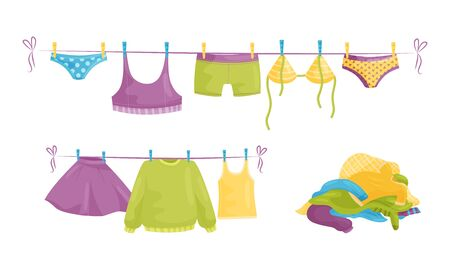 Laundry Resting in Basin and Clothing Items on Hanging Rope Vector Illustration