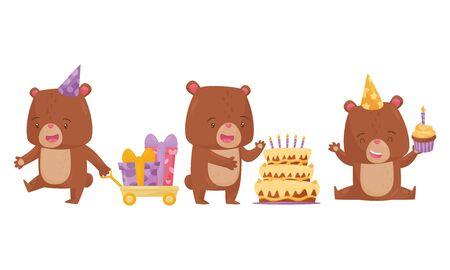 Cute Bear Male Animal Celebrating Birthday Vector Illustrations Set