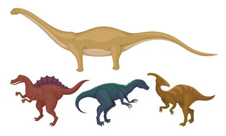 Prehistoric Dinosaurs Animals with Sharp Teeth and Tails Vector Set Ilustração