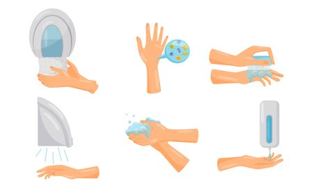 Tips of How to Wash Hands Properly with Illustrated Hands Actions Vector Set Illustration