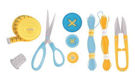 Notions de couture et ensemble de vecteurs de fournitures de couture. Outils pour la collection d'activités à la main Vecteurs