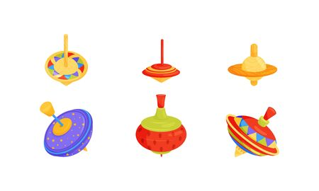 Whirligig Toy Vector Set. Colorful Childish Pegtop Collection. Bright Humming-top for Kids Vettoriali