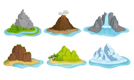 Flying Mountain Islands for Game Interface Vector Set. Landscapes with Volcano and Icebergs Collection